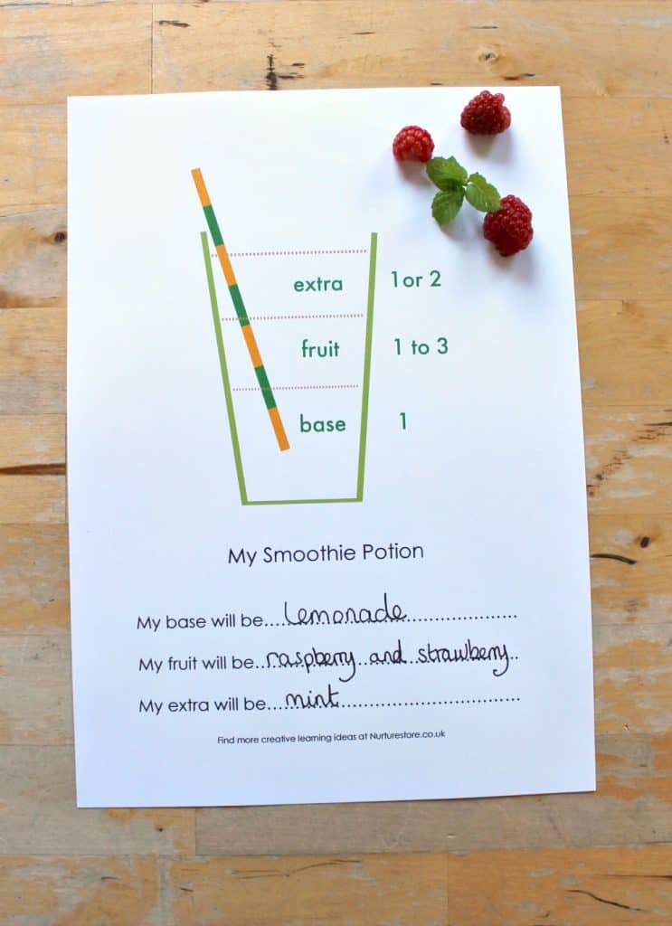 smoothie making lesson for kids with printable smoothie