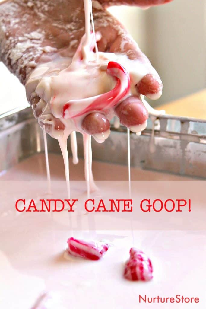 candy cane goop christmas sensory play