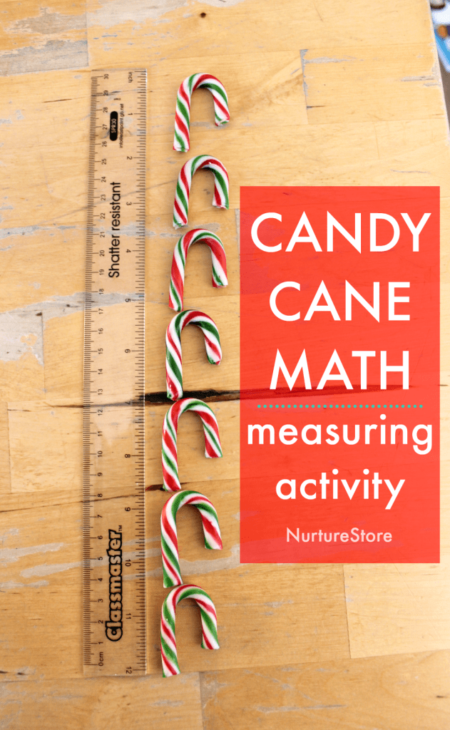 candy cane math Christmas measuring activity