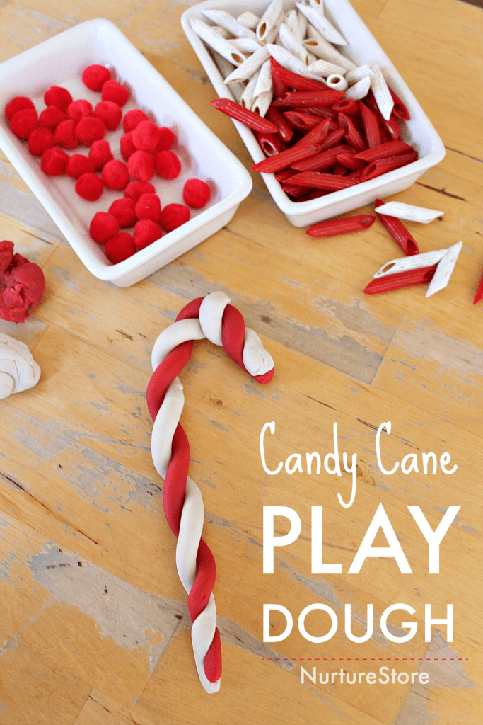 candy cane play dough ideas, Christmas sensory play activity
