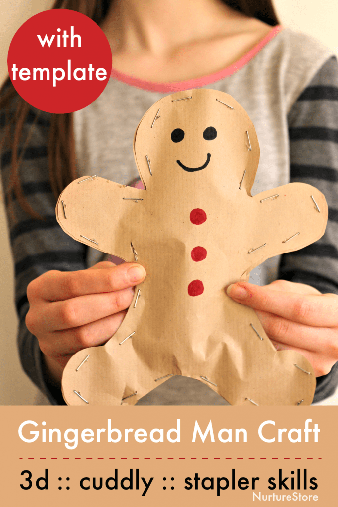 easy gingerbread man craft with template printable 3d
