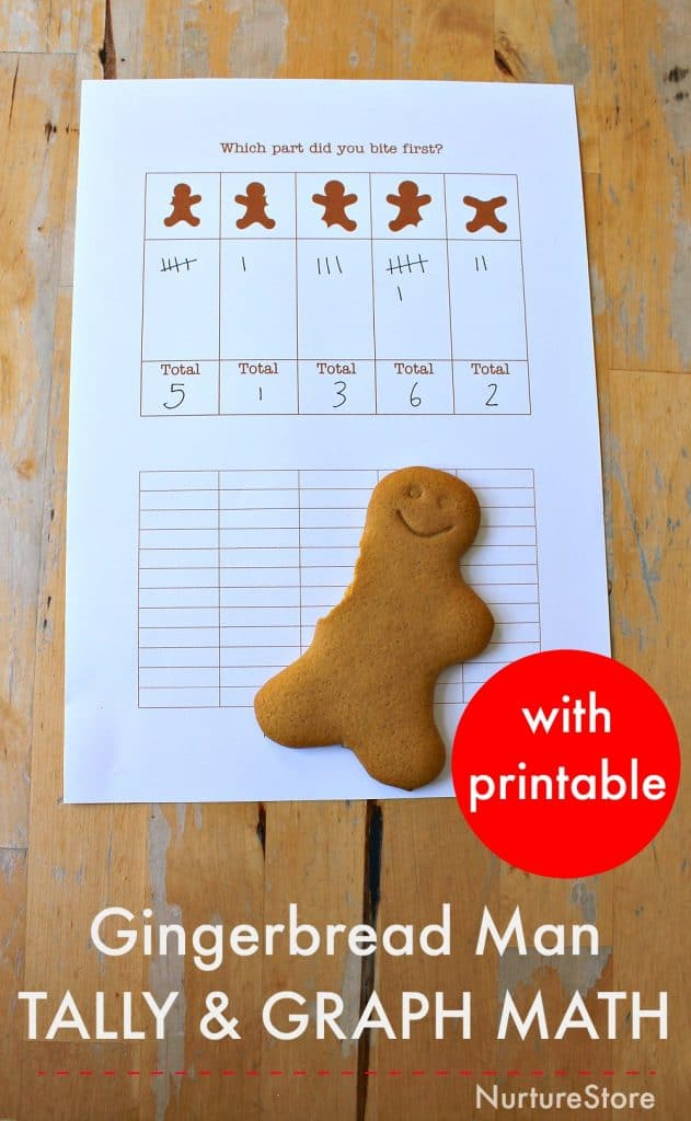 gingerbread man math graph tally activities