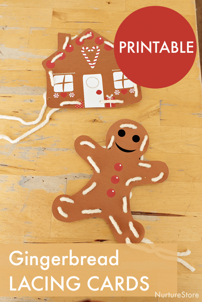 gingerbread man printable lacing cards