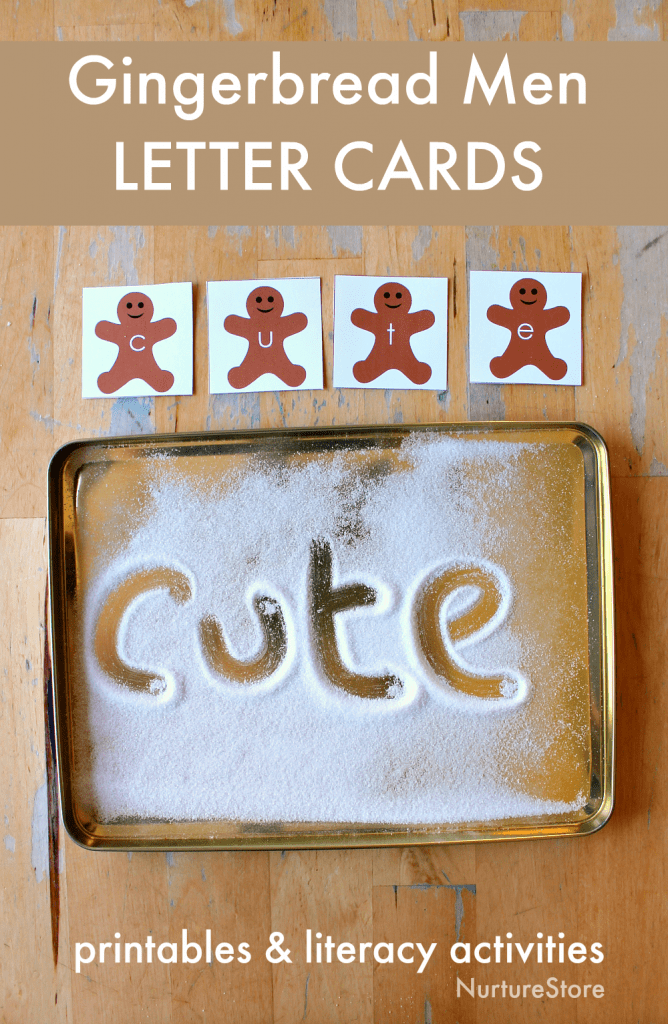 gingerbread men alphabet cards literacy printables
