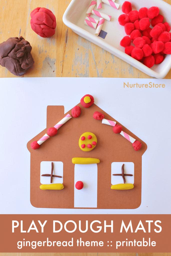 gingerbread theme play dough mats printables