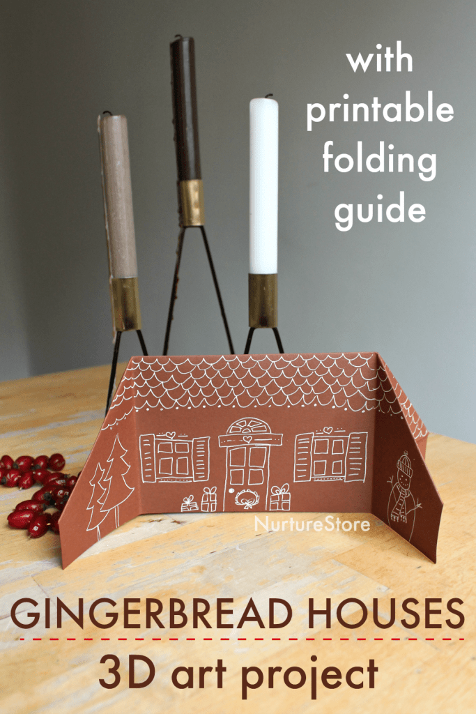 paper gingerbread house craft folding guide