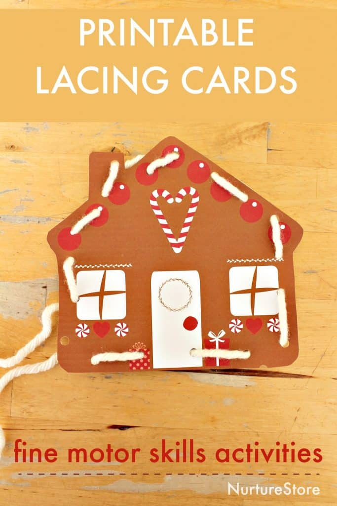 image about Printable Lacing Cards named Gingerbread printable lacing playing cards for great engine competencies