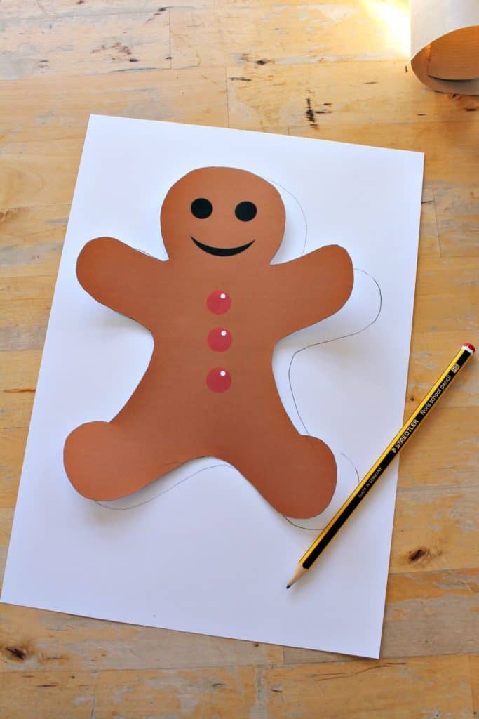 image about Gingerbread Printable named Uncomplicated gingerbread person craft for preschool with printable