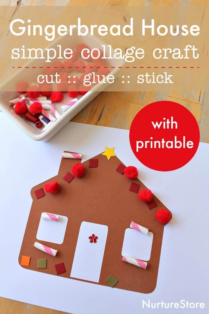simple easy gingerbread house craft printable