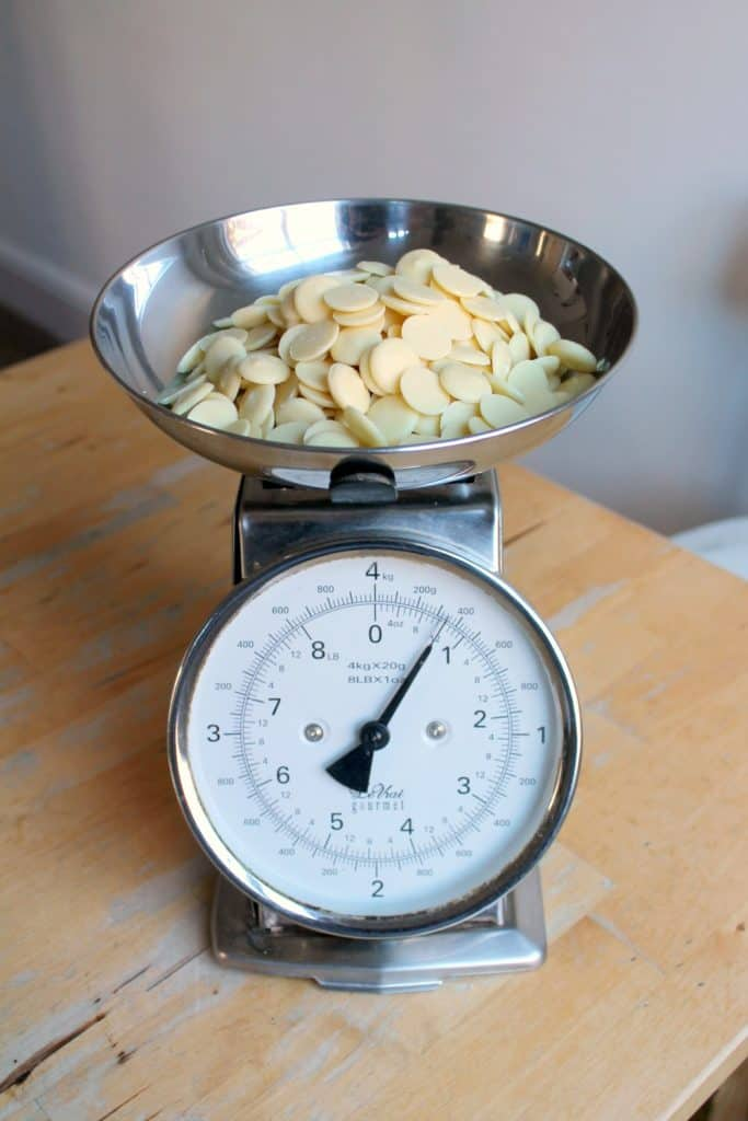 weighing ingredients for homemade fudge