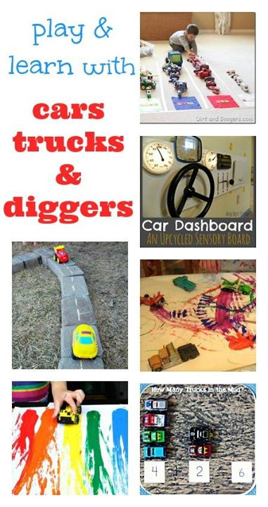 transport theme for kids, truck activities, car crafts, digger activities, digger crafts