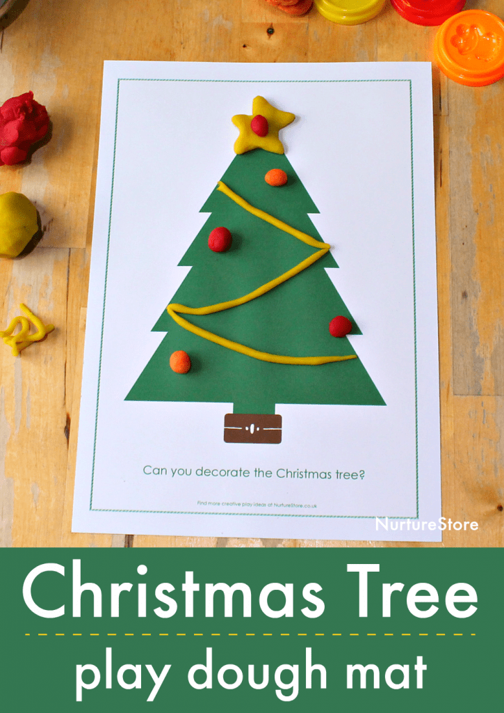 christmas tree play dough mat printable free