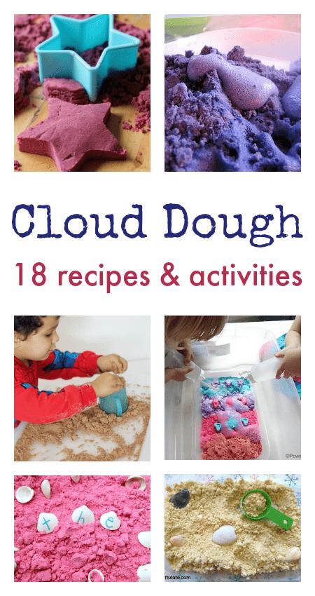 easy cloud dough recipes, cloud dough ideas, easy sensory play ideas