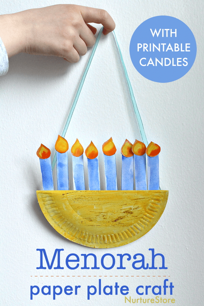 easy paper plate menorah craft printable
