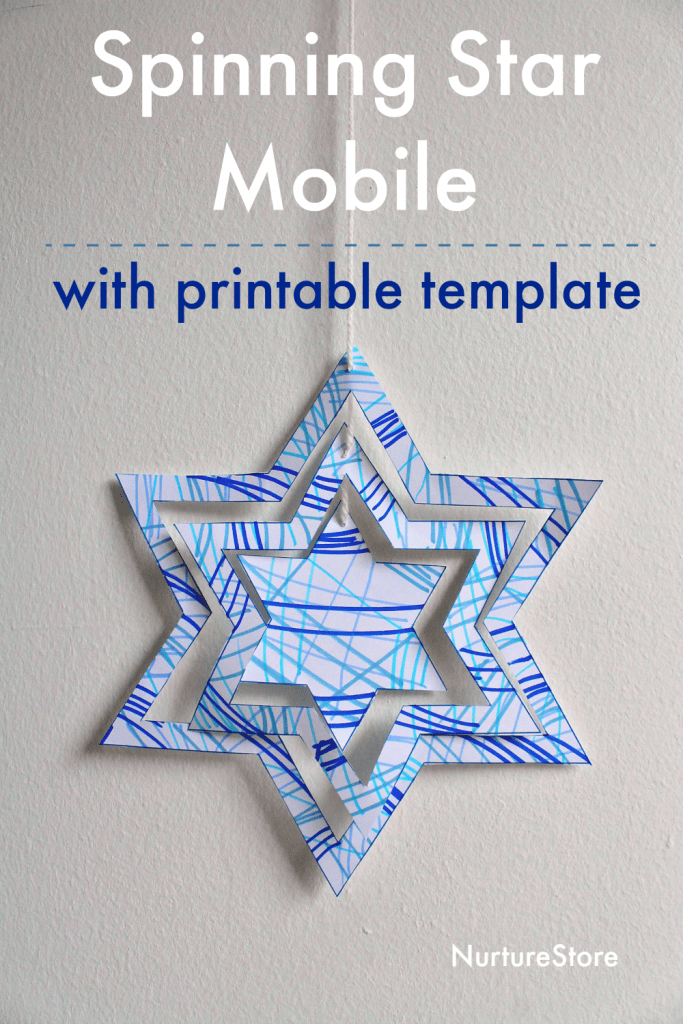 spinning star mobile craft with template