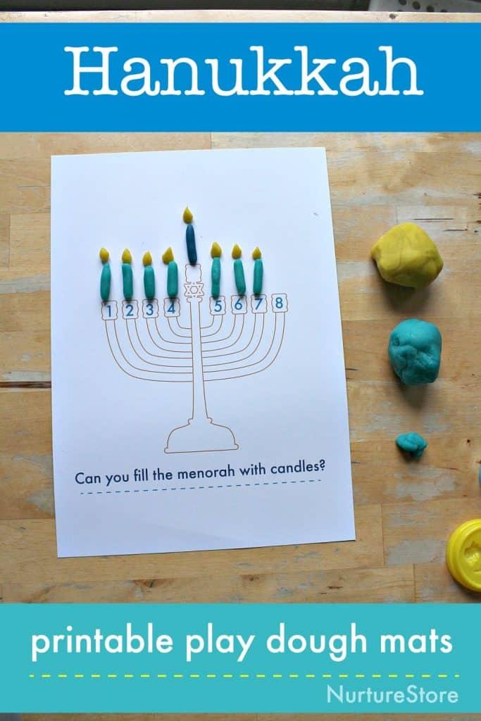 hanukkah activities printable play dough mat