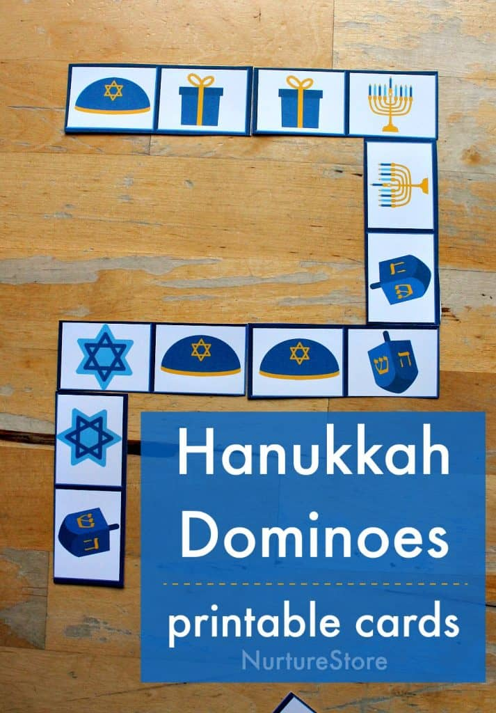 hanukkah game for children, printable Jewish dominoes