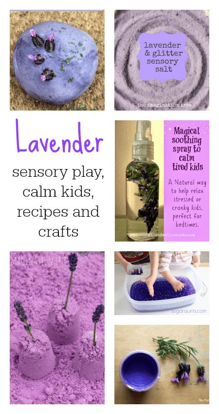lavender recipes, lavender sensory play, calming play ideas, lavender sensory play