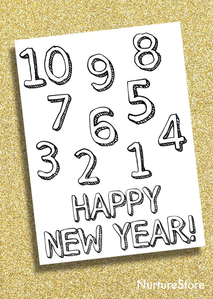 new year coloring page printable for children
