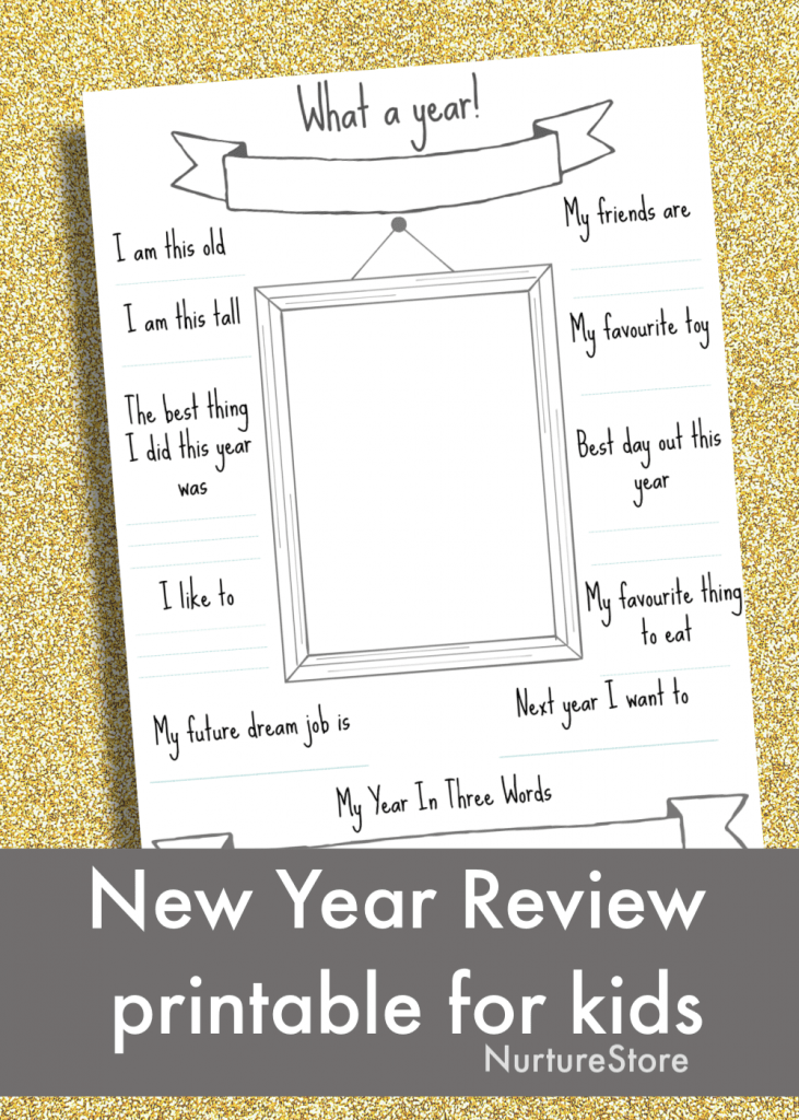 new year review printable for children, new year questionnaire for kids printable free