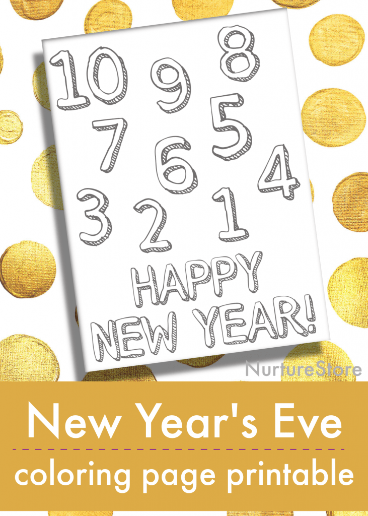 happy new year coloring page printable