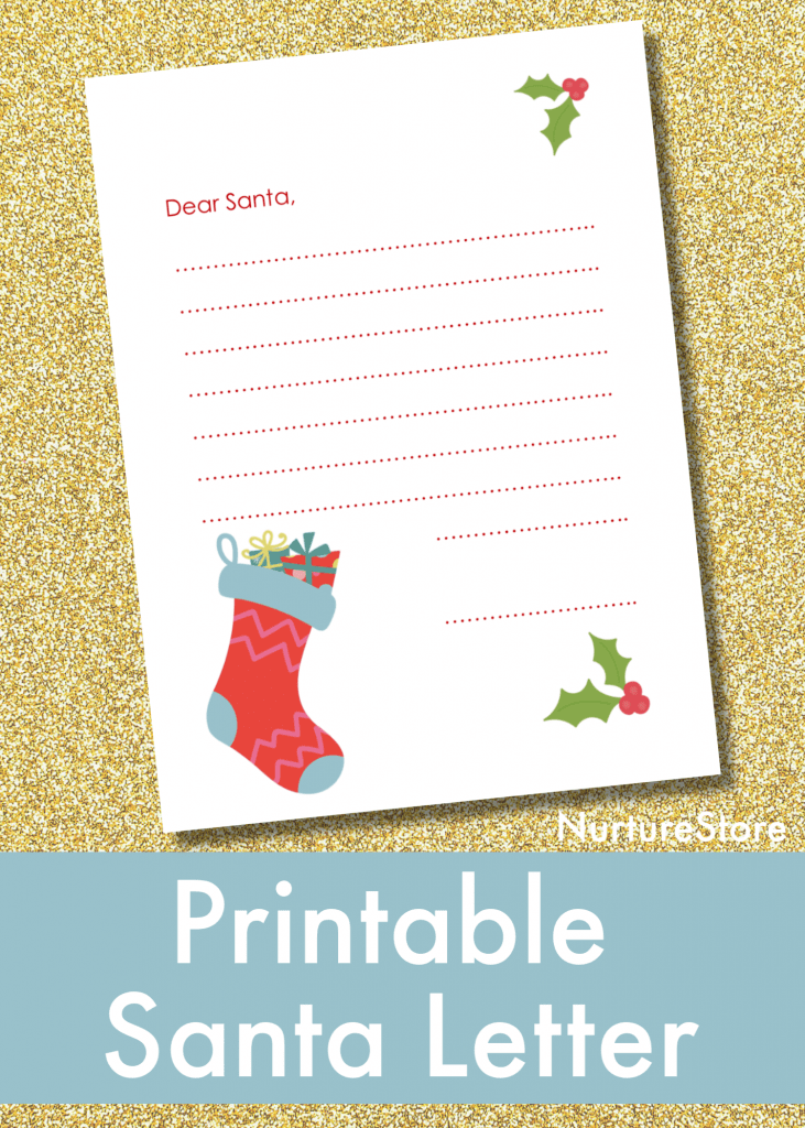 image relating to Santa Letters Printable named Printable letter in direction of Santa for kids - NurtureStore