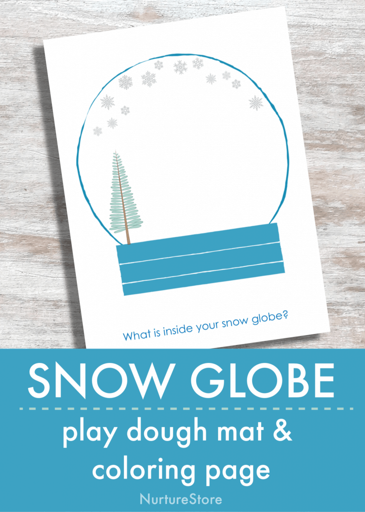 snow globe coloring page play dough mat printable