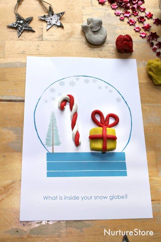 Snow Globe Winter Play Dough Mat Printable Nurturestore