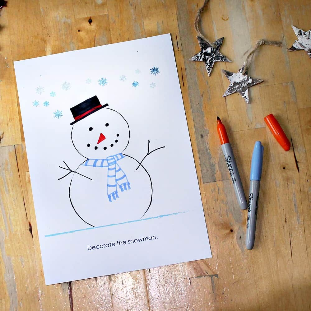 snowman coloring page printable