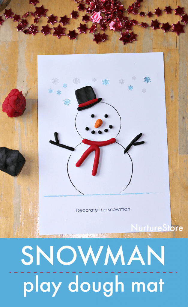 snowman play dough mat printable