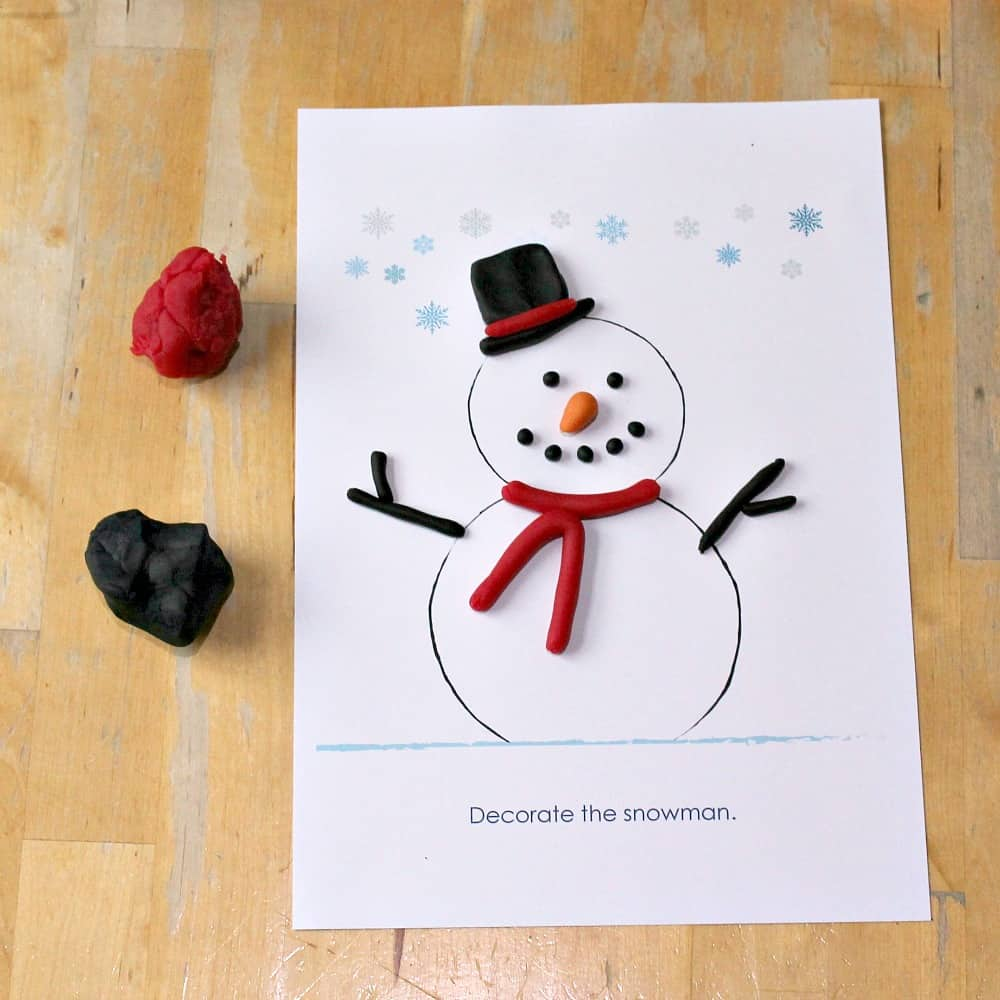 snowman play dough math printable free