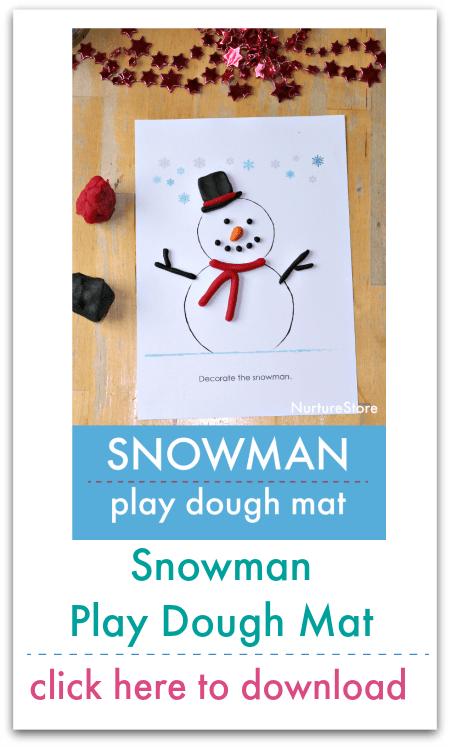 snowman play dough mat