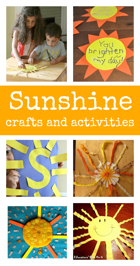 sun crafts, sunshine crafts, summer crafts for preschool and toddlers