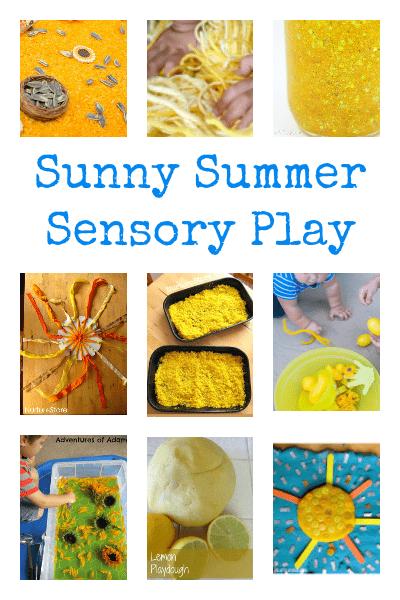 summer sensory play, sunshine theme activities, summer theme activities for preschool