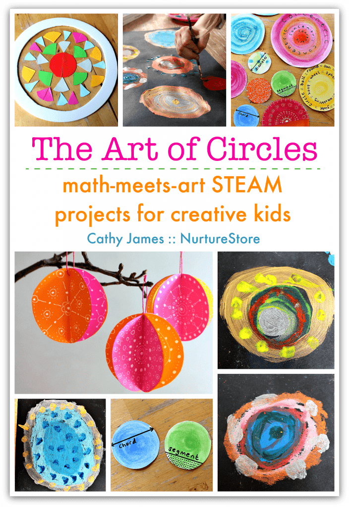 Math and art STEAM projects with circle art projects for kids