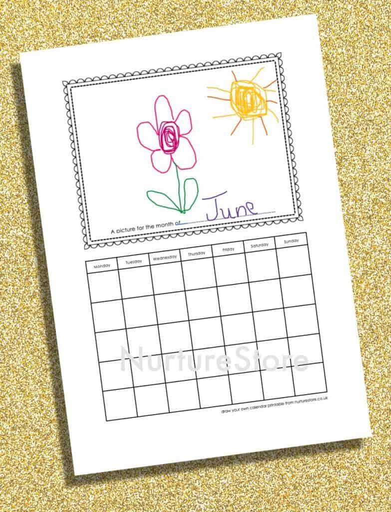 colour in calendar printable page