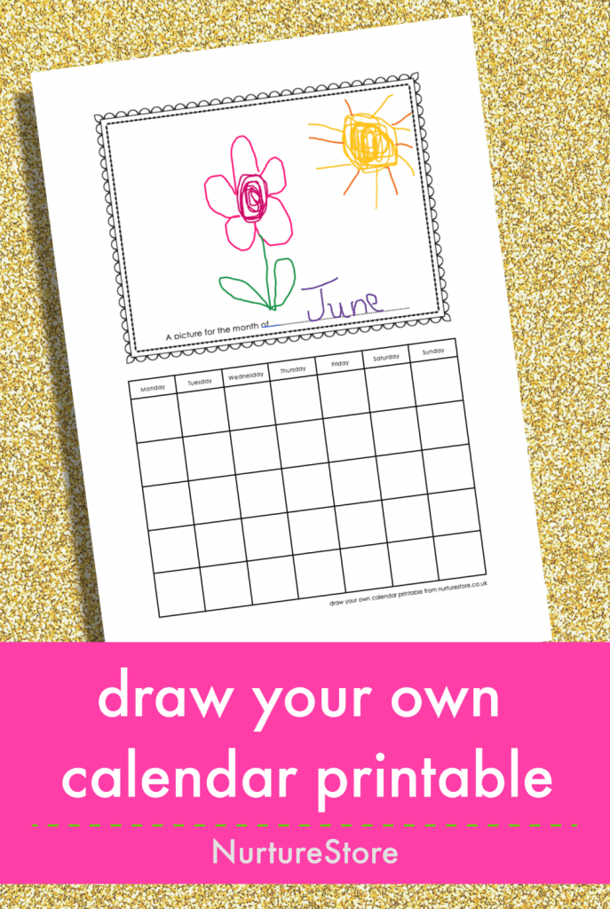 draw your own calendar printable for kids to fill in, printable calendar coloring page