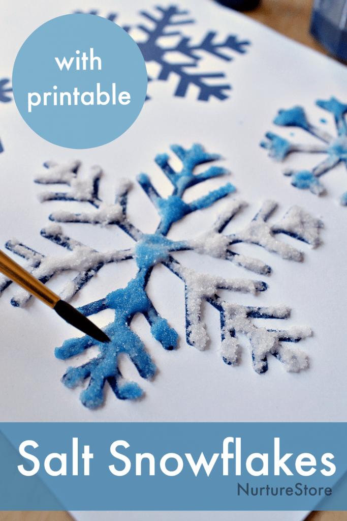 glue and salt painting snowflake art project