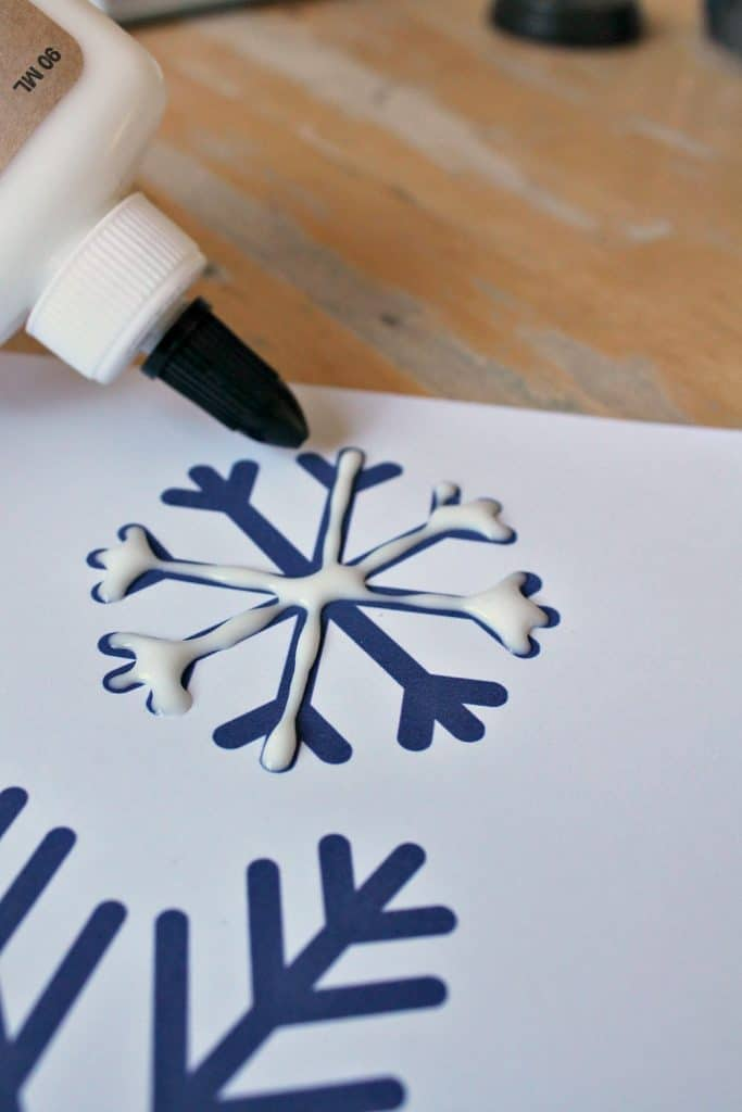glue snowflake craft