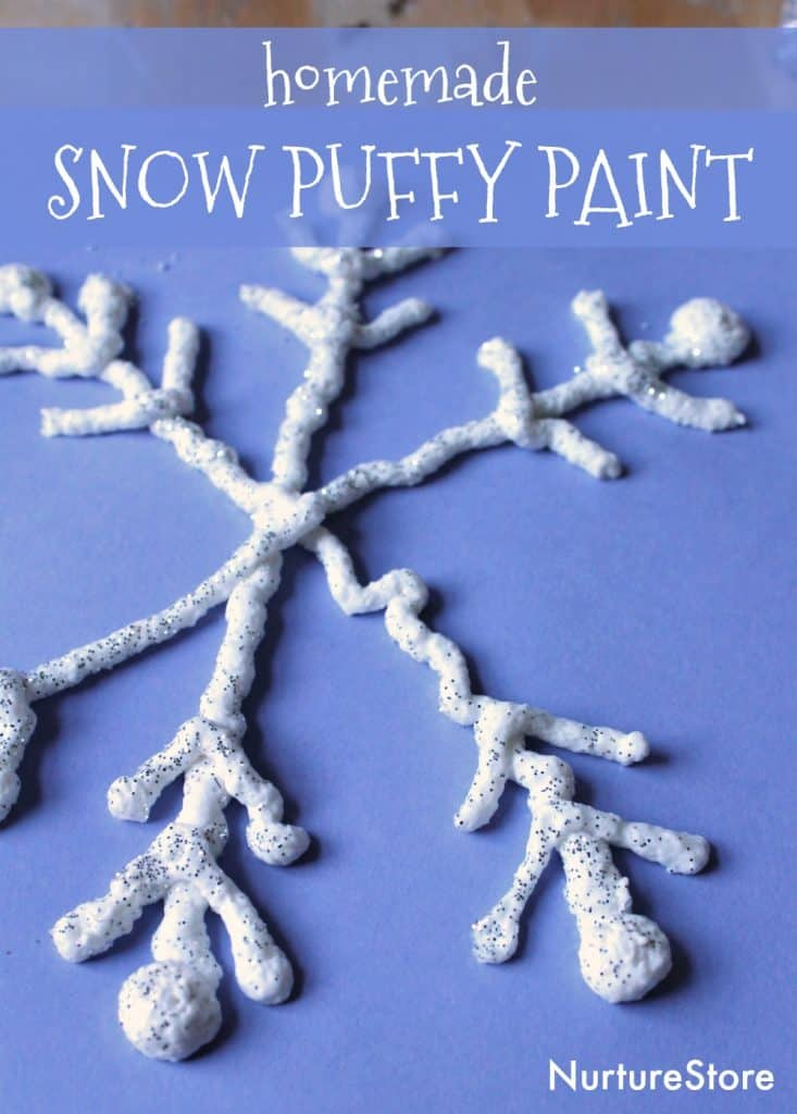 homemade snow puffy paint recipe easy snowflake craft