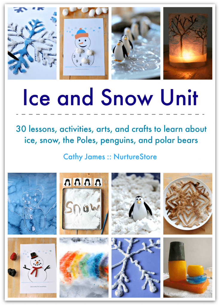 Ice and snow lesson plans, winter themed unit, polar unit, penguin and polar bear lessons, snow crafts, homeschool winter curriculum plans