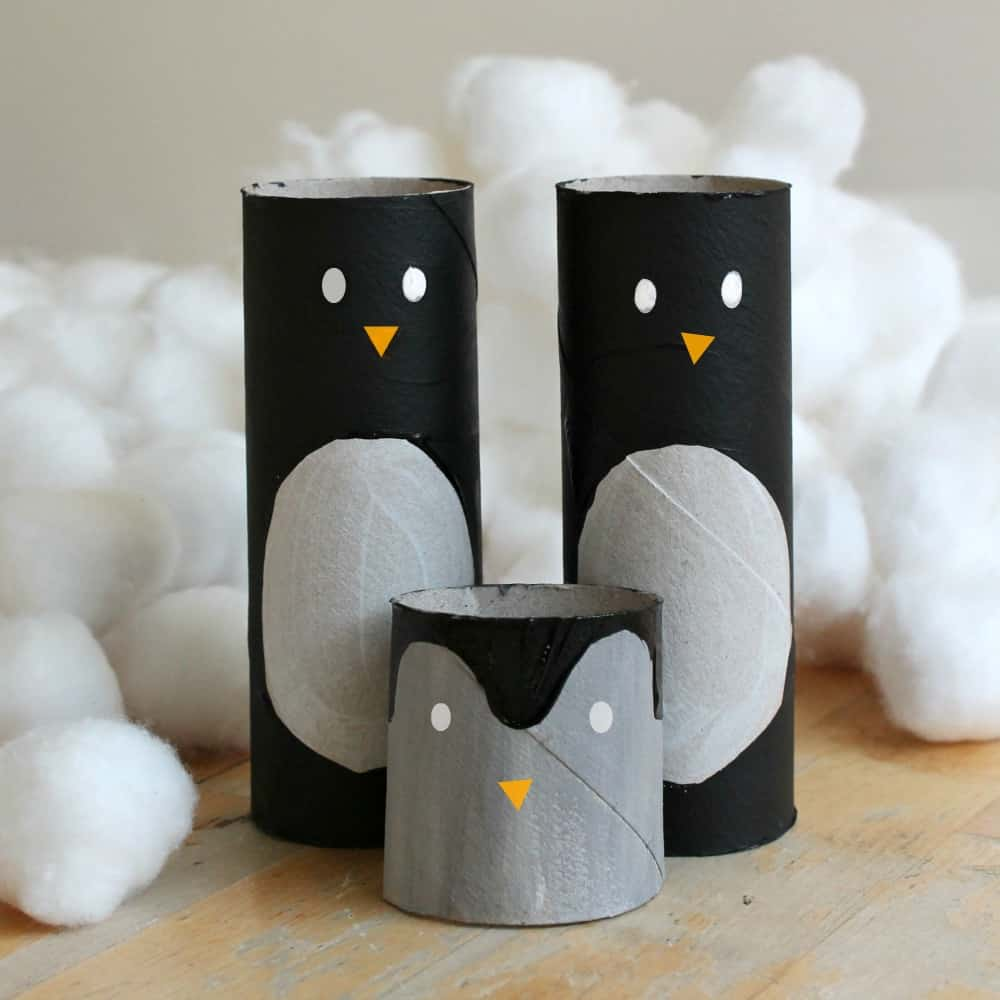 easy penguin craft made from paper rolls