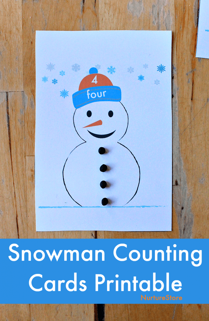 Snowmen counting cards printable