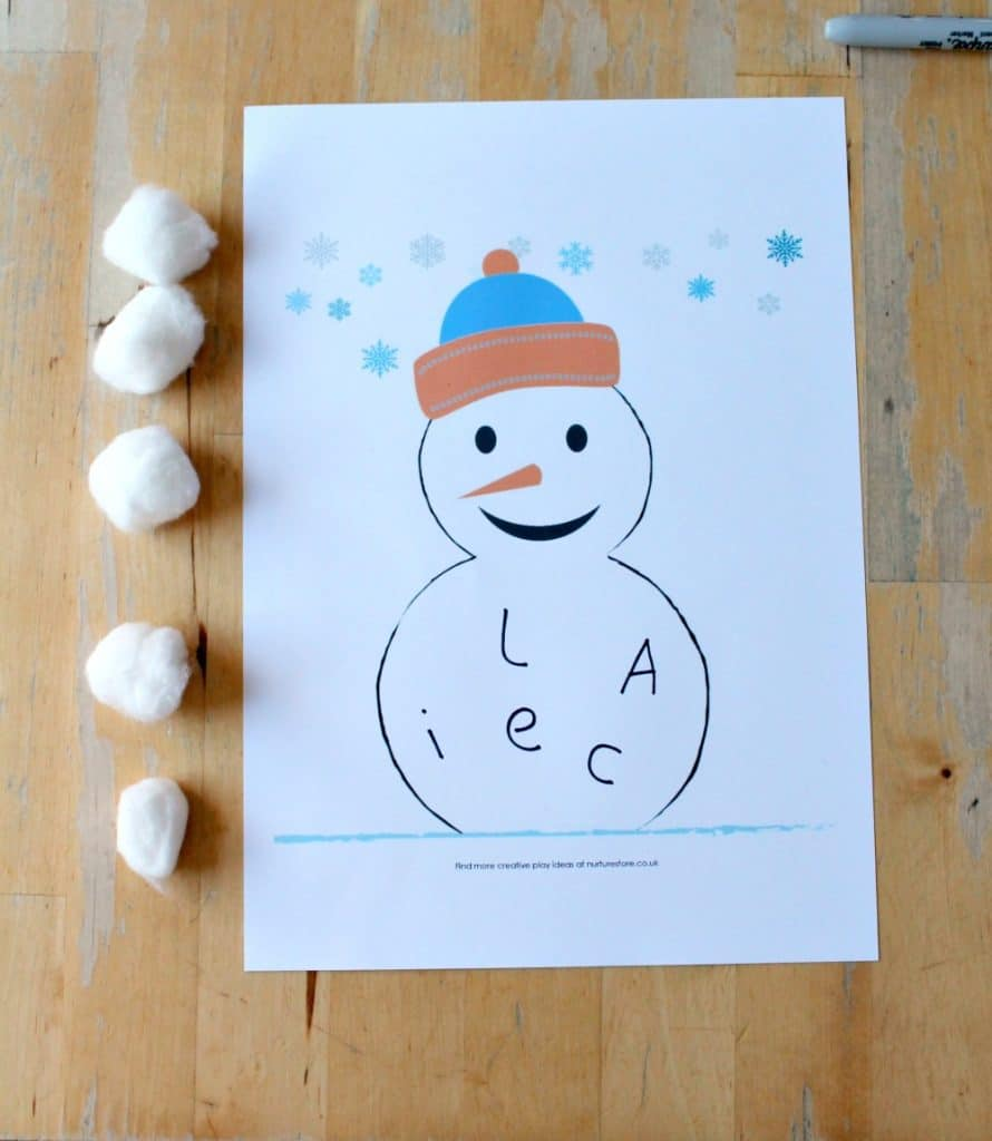 printable snowman literacy center