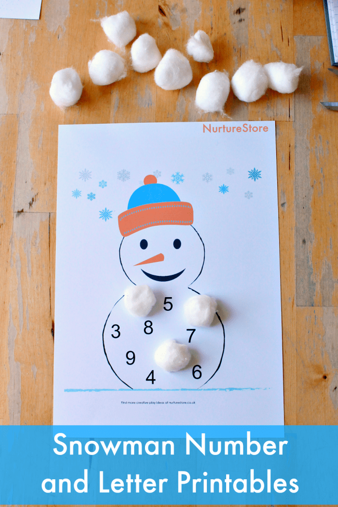 snowman number and letter printables for children