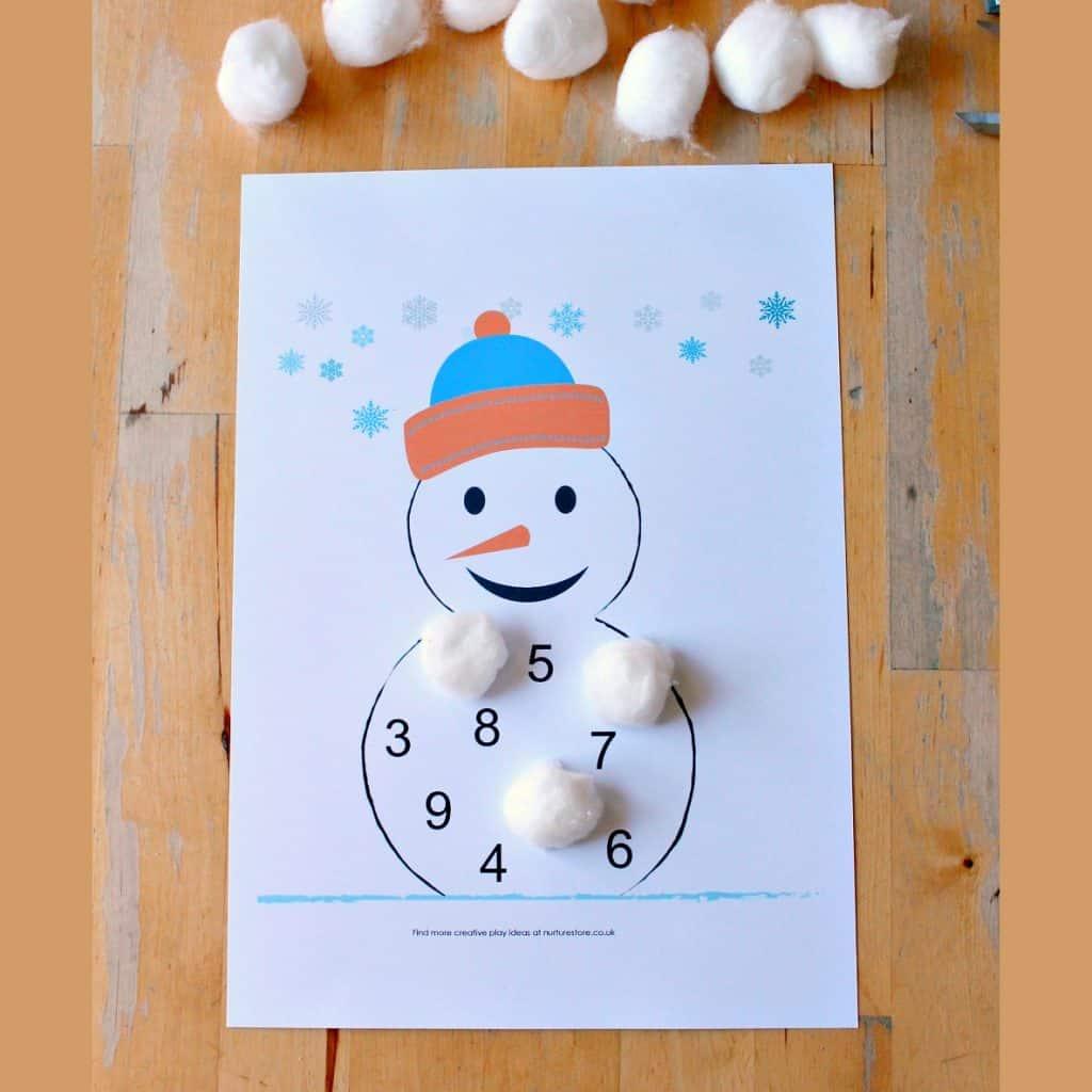 snowman number printable sq