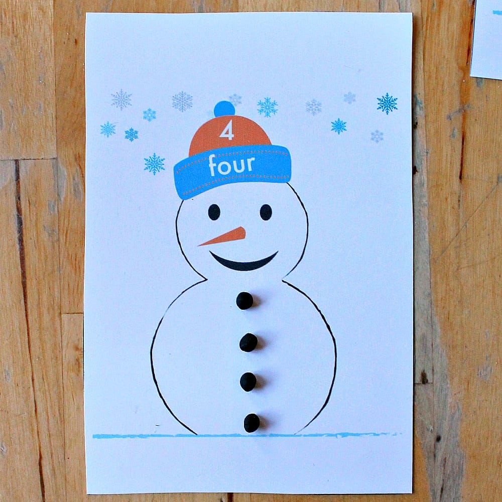 snowman number printables sq
