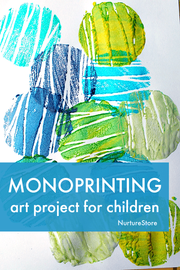 easy mono printing art project for children, beginners guide to printing