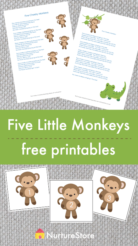 Five little monkeys counting song and monkey number cards printable, five cheeky monkeys