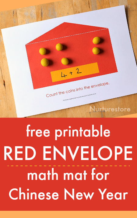 free printable red envelope math mat chinese new year